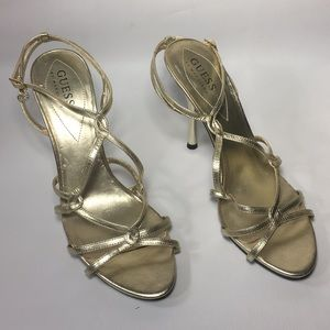 Guess Gold Strappy Heels 4 inch size 8